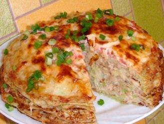 Торт из кабачков с сыром и мясом