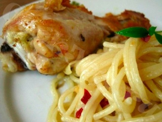 Курица со спагетти в мультиварке