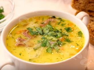 Сырный суп с курицей и рисом